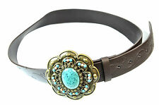 UNISEX  CHUNKY BROWN PU LEATHER MULTI LAYER TURQUOISE BELT BRAND NEW (MZ1)