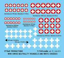 [FFSMC Productions] Decal 1/144 WWII Swiss Neutrality Roundels and White Crosses