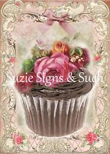 Fabric Block Vintage Altered Art Chocolate Cupcake Roses ~Chic & Shabby~