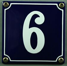 """Blaue Emaille Hausnummer """"6"""" 12x12 cm Hausnummernschild sofort lieferbar Schild"""