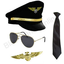 PILOT Aviator Captain Cappello Cravatta Occhiali Da Sole Oro BADGE Fancy Dress Costume anni'80