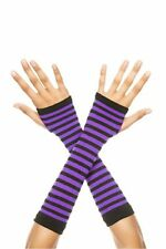 Music Legs Purple and Black Opaque Striped Arm Warmers