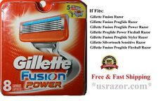 8 Gillette Fusion Power Cartridges Razor blades Refill Fits Flex ball Shaver USA