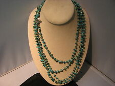 """96"""" Turquoise Nugget Sterling Silver Toggle Necklace SX"""