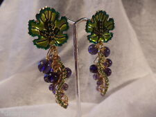 "New LATR2GO ""Lunch at the Ritz 2 Go"" Grape Dangle Charm Earrings Clip-on"