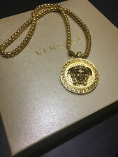 Guaranteed Authentic Gianni Versace Gold Medusa Curb Chain Necklace