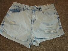 BNWT UK 14 Topshop Shorts Hallie High Waist Hotpant Denim Bleached Rips Dressy