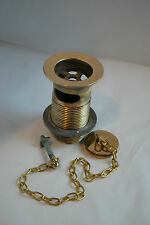 BRASS SLOTTED WASTE &  PLUG 1 1/4 INCH RECLAIMED REFURBISHED & READY 2 FIT