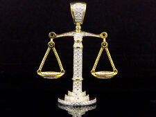 Mens Yellow Finish Sterling Silver Lab Diamond Unique Scale of Justice Pendant