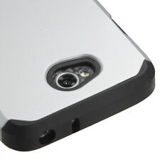 For LG Ultimate 2 L41C / L70 - HARD TPU GUMMY RUBBER HYBRID CASE SILVER ARMOR