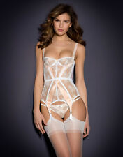 AGENT PROVOCATEUR MADDY BASQUE WHITE/PINK BNWT SIZE 32D RRP £395