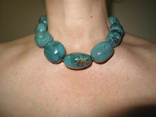 "Turquoise Real Large Nuggets Stone Chunky Necklace 18.25"" 46cm silver"