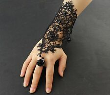 Ladies Womens Steampunk Goth Costume Black Lace Fingerless Gloves