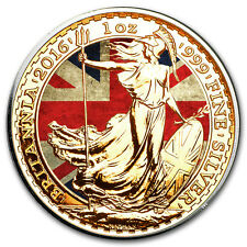 1 oz 999 Silver UK Flag Colorized and Gold Gilded Britannia Coin 2016 + Box, CoA