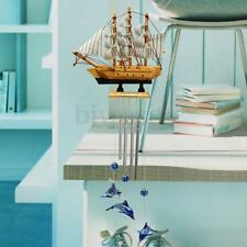 4 Tube Blue Dolphin Sailing Boat Church Wind Chimes Garden Outdoor Hanging Bells