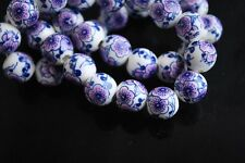 10pcs10mm Round Porcelain Ceramic Loose Spacer Beads Charms Violet Wintersweet