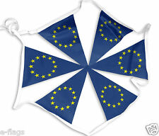 MASSIVE 33FT WITH 28 FLAGS EU EURO EUROPEAN UNION FABRIC FLAGS TRIANGLE BUNTING