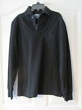 MEN'S RALPH LAUREN LONG SLEEVE BLACK BLACK CUSTOM FIT BIG PONY POLO NWT SIZE S