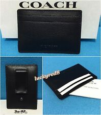 NEW COACH CALF LEATHER MONEY CLIP CARD CASE F75459 BLACK $95.00