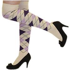 NEW WOMENS GIRLS ARGYLE OVER THE KNEE SOCKS OTK HIGH SOCKS PUB GOLF FANCY DRESS