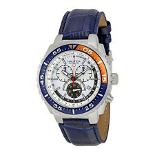 Nautica NST 700 White Dial Chronograph Blue Leather Mens Watch N14679G