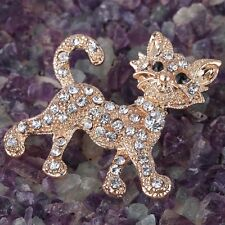 Gold Plated Alloy Rhinestone Crystal Cat Brooch Pin Party wedding women Jewelry