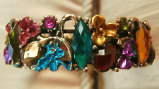 BRASS MULTI COLOUR CRYSTAL ENAMEL BUTTERFLY & FLOWER LADIES BANGLE CUFF BRACELET