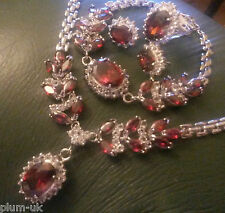 SE50 sim diamond +GARNET, WHITE GOLD GF STATEMENT necklace bracelet ring earring