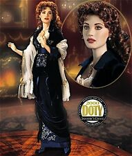 "FRANKLIN MINT TITANIC ROSE FLYING SCENE BLUE VELVET DRESS 18"" PORCELAIN DOLL NIB"