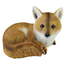 Sly Woodland Baby Red Fox Garden Statue Yard Decor Nature Sculpture
