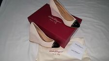SALVATORE FERRAGAMO CREAM AND BLACK WEDGE HEELS  SIZE 8 U.S.