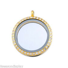 1 Stainless Steel Floating Living Memory Locket Pendant Rhinestone Gold Plated