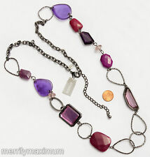 Chico's Signed Necklace Gunmetal Chunky Long Chain Purple Fuchsia Pink Beads NWT
