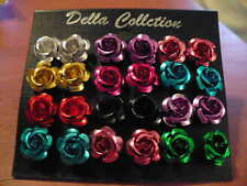 12 PAIR METALLIC COLOR FLOWER STUD PIERCED EARRINGS 1/2'