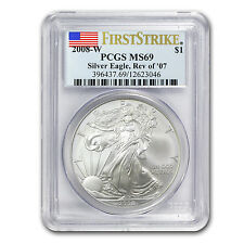 2008-W Burnished Silver American Eagle Coin - MS-69 FS PCGS - Rev of 2007 Coin