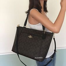 NEW! COACH Black Brown Signature PVC Leather Shoulder Tote Crossbody Bag Purse