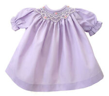 Lavender Hand-Smocked Dress w/ Embroidered Roses for Bitty Baby Doll Clothes