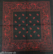 Black And Red Paisley Bandana Bandanna Head Wear Bands Scarf Neck Wrist Wrap B1