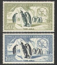 FSAT/TAAF 1956 Emperor Penguins/Petrel/Map/Birds/Nature/Wildlife 2v set (n40069)