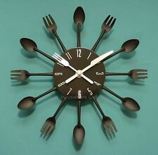 Modern Black Cutlery Kitchen Retro Wall Clock Fork & Spoon Novelty Decoration