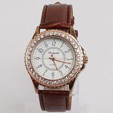 Men Fashion Women Ladies Casual Rhinestone Brown Leather Quartz Wristwatch U59GZ