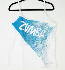 Zumba Womens Slim Shaded Spaghetti Strap Tank Top XXL Wear It Out White & Blue