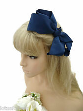Large Knotted Bow Hair Clip Grip in Navy Blue Ribbed Ribbon Fabric