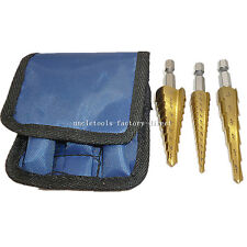 "3pcs 3/16-1/2' 1/4-3/4' 1/8-1/2 Quick-Change 1/4"" Hex Sae Step Drill Bit + Pouch"