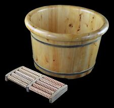 "16"" Solid Cedar Wood Foot Basin Tub Bucket for Foot Bath, Soak, Massage"