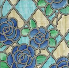 "AMIENS BLUE Stained Glass Decorative Window Film, Self-Adhesive Film 18""x 39"""