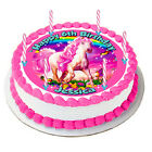 HORSE RAINBOW BUTTERFLY REAL EDIBLE ICING CAKE IMAGE PARTY TOPPER