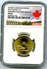 2017 CANADA $1 CLASSIC LOON NGC MS66 FIRST RELEASES UNCIRCULATED SET LOONIE !!