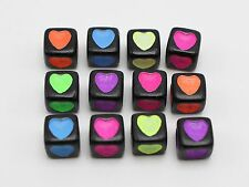 250 Black with Neon Color Love Heart Cube Pony Beads 7X7mm Kids Craft