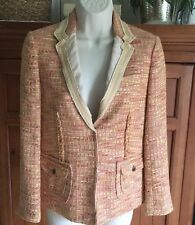 J CREW COLLECTION Women's Peach/Pink Tweed Ribbon Trim Blazer--sz 0